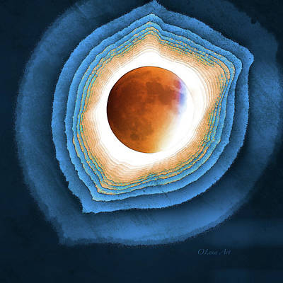 Digital Art - Abstract Solar Eclipse by OLena Art Brand