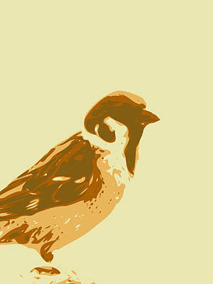 Digital Art - Abstract Sparrow Contours Brown by Keshava Shukla