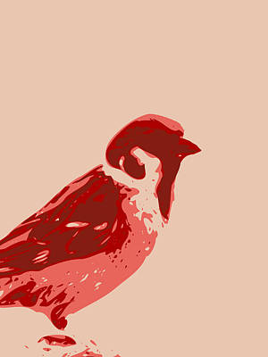Digital Art - Abstract Sparrow Contours Red by Keshava Shukla