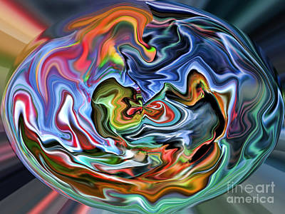 Red Digital Art - Abstract Sphere IIi by Jim Fitzpatrick