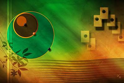 Digital Art - Abstract Spheres Waves And Tiles by John Wills