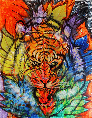 Visionary Art Drawing - Abstract Spot The Tiger by Arun Sivaprasad