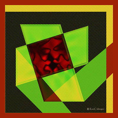 Art Print featuring the digital art Abstract Squares And Angles by Kae Cheatham