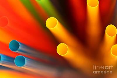 Photograph - Abstract Straws by David Warrington