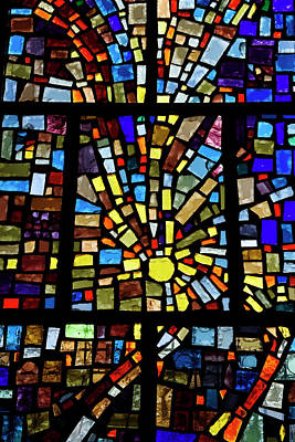 Photograph - Abstract Sun Pattern Of Colors In A Stained Glass Window Mosaic  by Reimar Gaertner