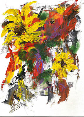 Painting - Abstract Sunflowers by Asha Sudhaker Shenoy