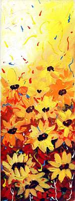 Painting - Abstract Sunflowers Composition by Samiran Sarkar