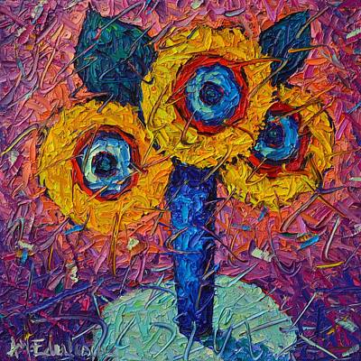 Painting - Abstract Sunflowers Contemporary Impressionism Impasto Palette Knife Oil Painting Ana Maria Edulescu by Ana Maria Edulescu