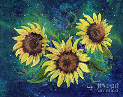 Self-taught Painting - Abstract Sunflowers by Renee Lavoie