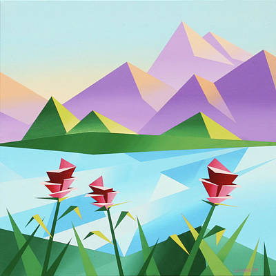 Cubist Painting - Abstract Sunrise At The Mountain Lake 2 by Mark Webster