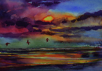 Painting - Abstract Beach Sunrise With Pelicans 7-10-17 by Julianne Felton