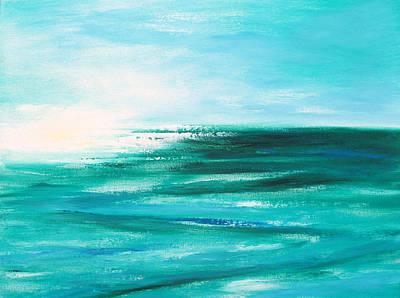 Abstract Sunset In Blue And Green 2 Print by Gina De Gorna