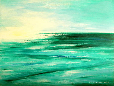Painting - Abstract Sunset In Blue And Green by Gina De Gorna