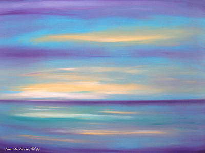 Painting - Abstract Sunset In Purple Blue And Yellow by Gina De Gorna