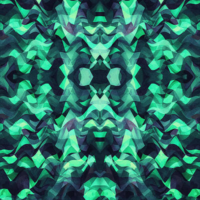 Abstract Surreal Chaos Theory In Modern Poison Turquoise Green Art Print by Philipp Rietz