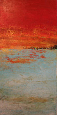 Painting - Abstract Teal Gold Red Landscape by Alma Yamazaki