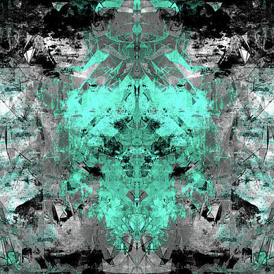 Resin Digital Art - Abstract Teal Grey by Filippo B