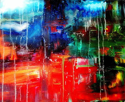 Abstract The Red River Runs Down Original by Angela  Holladay