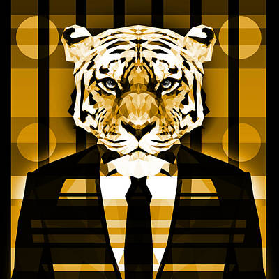 Tuxedo Cat Digital Art - Abstract Tiger 1 by Gallini Design
