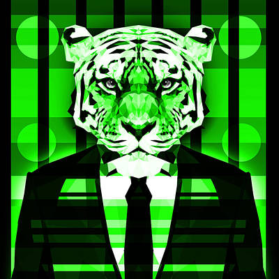 Tuxedo Cat Digital Art - Abstract Tiger 4 by Gallini Design