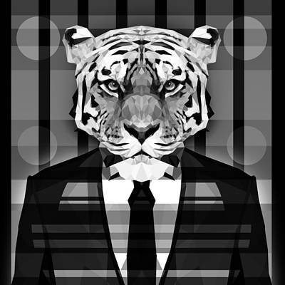 Tuxedo Cat Digital Art - Abstract Tiger 5 by Gallini Design