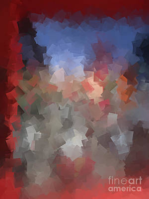 Red And Blue - Abstract Tiles No. 16.0110 Art Print