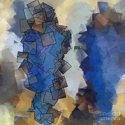 Blue Figures - Abstract Tiles No15.822 Art Print