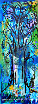 The Trees Mixed Media - Abstract Tree In Spring by Genevieve Esson