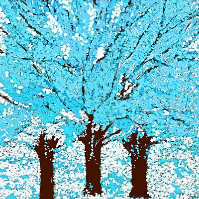 Painting - Abstract Trees Are Blue by Saundra Myles