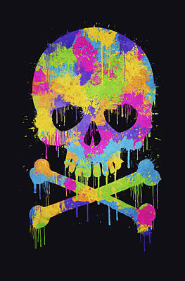 London Tube Digital Art - Abstract Trendy Graffiti Watercolor Skull  by Philipp Rietz