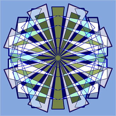 Abstract Triangle Starburst In Blue And Green Art Print by Feami HuX