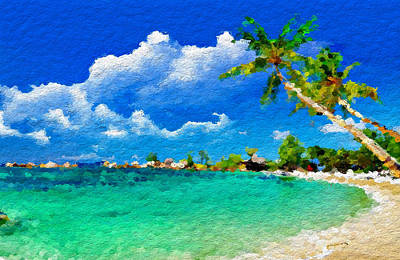 Abstract Beach Landscape Digital Art - Abstract Tropical Atraction by Anthony Fishburne