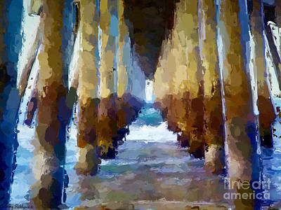 Mixed Media - Abstract Under Pier Beach by Anthony Fishburne