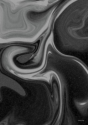Digital Art - Abstract Union 2 Vertical Bw by Lesa Fine