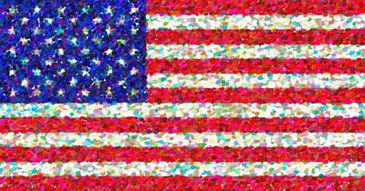Hijab Art Painting - Abstract Usa Flag 3 by Celestial Images