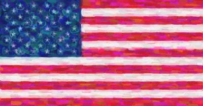 Hijab Art Painting - Abstract Usa Flag 4 by Celestial Images