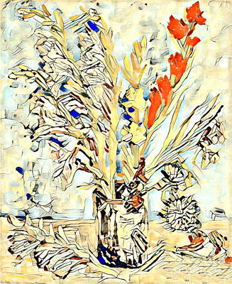 Mixed Media - Abstract Vase Of Flowers by Lita Kelley