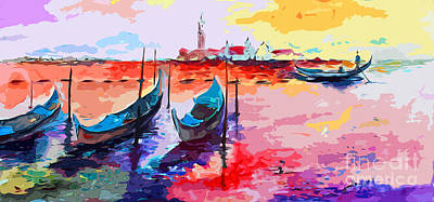 Painting - Abstract Venice Gondolas  by Ginette Callaway