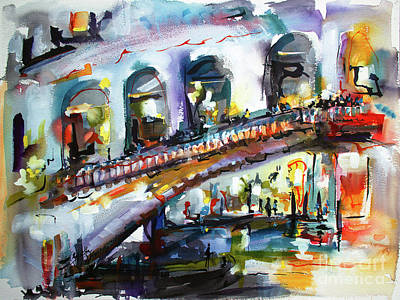 Painting - Abstract Venice Reflections Under Rialto by Ginette Callaway
