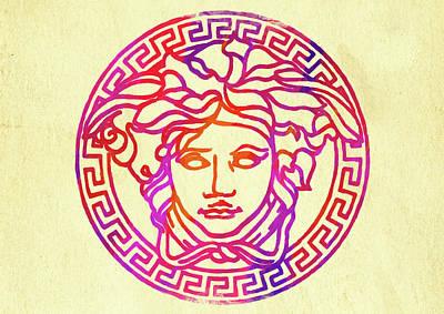 Photograph - Abstract Versace Logo Watercolor II by Ricky Barnard