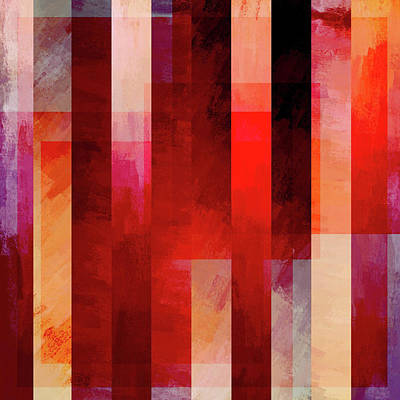 Modern Feathers Art - Abstract Vertical Bars Red by Brandi Fitzgerald