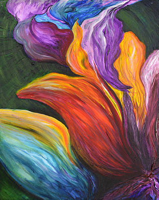 Abstract Vibrant Flowers Art Print