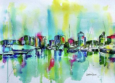 Painting - Abstract View Of Downtown Long Beach by Debbie Lewis