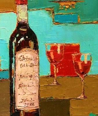 Modern Feathers Art - Abstract Vino by Beth Capogrossi