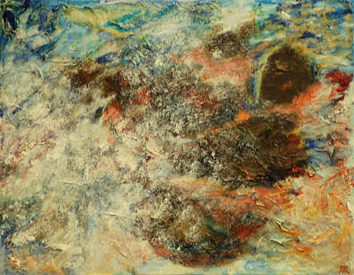 Red White And Blue Mixed Media - Abstract Water Sky And Rocks  by Rashmi Rao