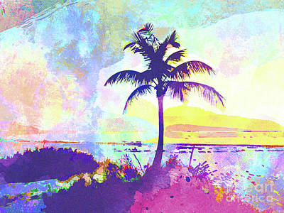 Island .oasis Mixed Media - Abstract Watercolor - Beach Sunset I by Chris Andruskiewicz