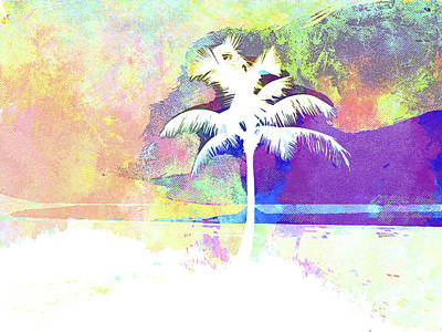 Island .oasis Mixed Media - Abstract Watercolor - Beach Sunset II by Chris Andruskiewicz