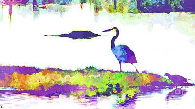 Island .oasis Mixed Media - Abstract Watercolor - Florida Heron by Chris Andruskiewicz