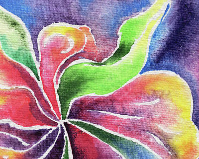 Lilies Royalty-Free and Rights-Managed Images - Abstract Watercolor Flower Lily And Orchid by Irina Sztukowski