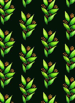 Digital Art - Abstract Watercolor Green Plant With Orange Berries by Boriana Giormova